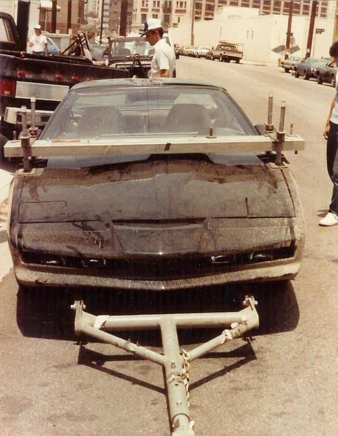 KITT Fahrzeug bei den Dreharbeiten von Knight Rider